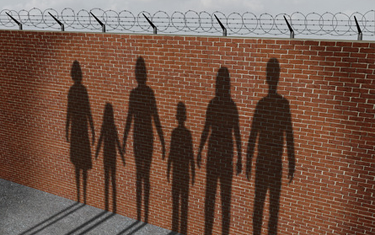 A wall with shadows depicts the separation of immigrant families